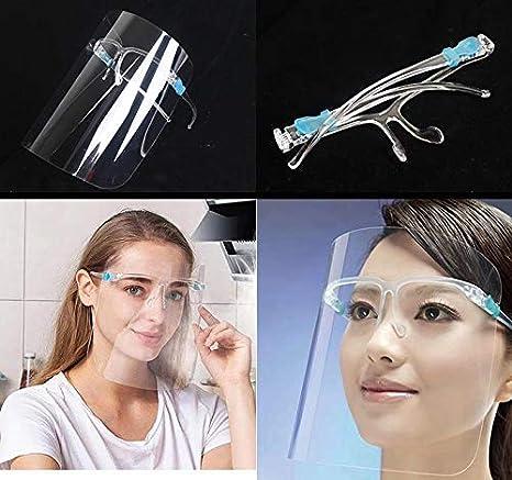 Set de 5 uds. Visera-pantalla facial, transparente, protección facial anti-salpicaduras reutilizable.