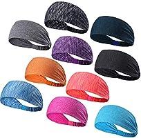 DASUTA Set of 10 Women's Yoga Sport Athletic Headband for Running Sports Travel Fitness Elastic Wicking Workout Non Slip...