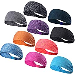 DASUTA Set of 10 Women's Yoga Sport Athletic Headband for Running Sports Travel Fitness Elastic Wicking Workout Non Slip Lightweight Multi Headbands Headscarf fits All Men & Women