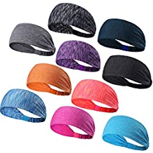 Set of 10 Women's Yoga Sport Athletic Workout Headband For Running Sports Travel Fitness Elastic Wicking Non Slip Lightweight Multi Style Bandana Headbands Headscarf fits all Men & Women (10 Colors)