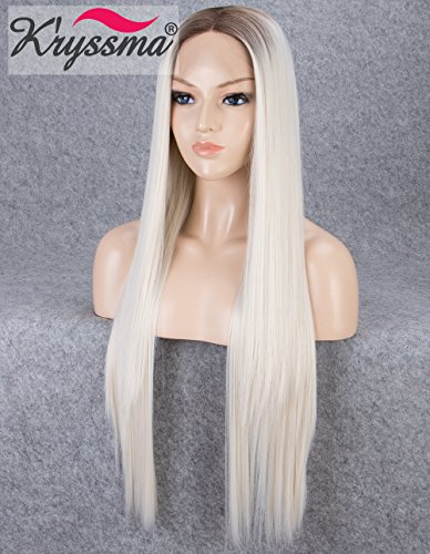 K'ryssma Blonde Lace Front Wigs for Women Long Straight Ombre Synthetic Wig with Dark Roots Heat Resistant