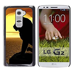 Paccase / SLIM PC / Aliminium Casa Carcasa Funda Case Cover para - Lion Silhouette Sunset Sea Ocean Summer - LG G2 D800 D802 D802TA D803 VS980 LS980