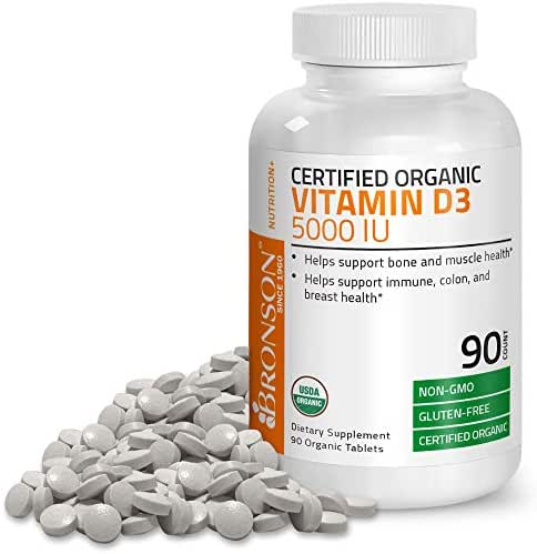Vitamin D3 5000 IU Certified Organic Vitamin D Supplement, Non-GMO, USDA Certified, 90 Tablets