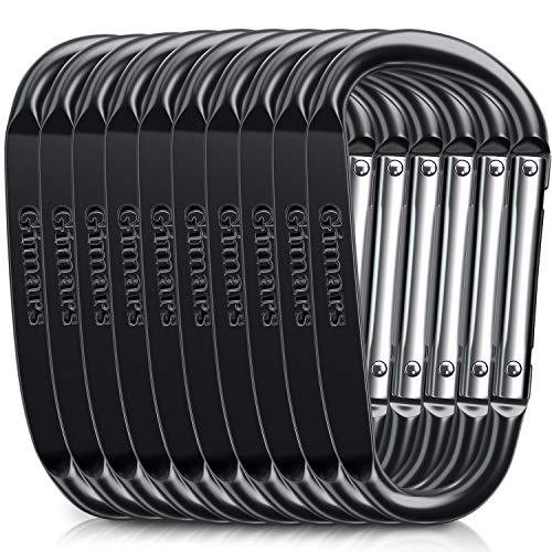 Gimars 3 10 Pcs Improved Black Durable Spring-Loaded Gate Aluminum D Ring Carabiners Clips Hook for Home, Rv, Camping, Fishing, Hiking, Traveling