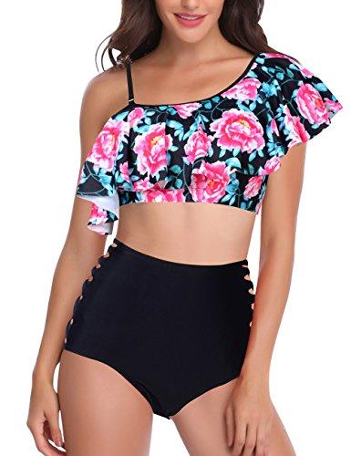 Women Padded Stripe Bikini Set One Shoulder 2 Piece Swimwear (XL, Black (1 Piece Bandeau Swimsuit)