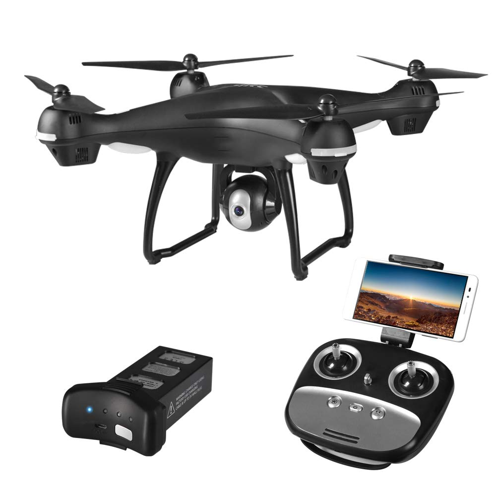 schwarz GPS FPV RC Drone,1080P HD Camera Live Video und GPS Return Home, 2.4GHz Wi-Fi Gyro Quadcopter mit Altitude Hold, Gravity Sensor Funktion,schwarz