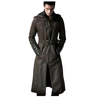 22e98c783 Rigel Men's Steampunk Gothic Leather Trench Coat Military Style ...