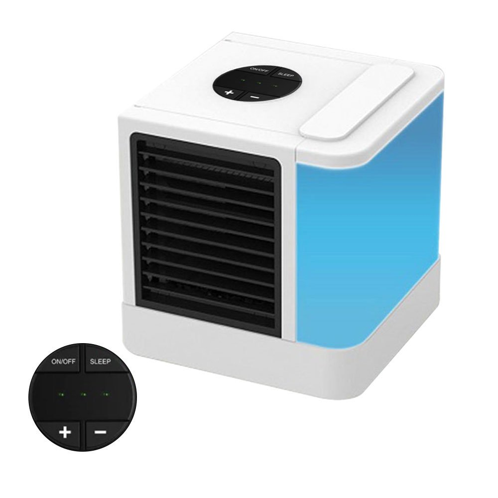 Leegoal Mini Air Cooler, USB Portable Air Conditioner with Sleep Mode and 3 Speeds for Air Cooler/Humidifier/Purifier, Desktop Cooling Fan with Blue Light for Office Home Dorm Outdoor Travel (LED)