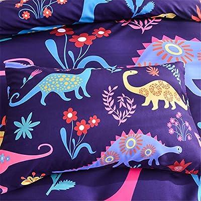 Dinosaur Printed Boys Duvet Cover Set Twin Microfiber Floral Universal Animal Theme Cartoon Kids Girls 3D Bedding Sets (Dinosaur,King): Home & Kitchen