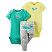 Carter's Baby Girls' 3-Piece Bodysuit & Pants Set (9 Months, Yellow)