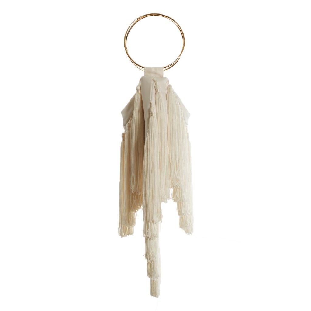 e9b6c4bb41cd Farrah + Sloane Mira Tassel Bracelet Bag Clutch Wristlet, Ivory ...