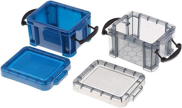 Amazon.es: non-brand Mini Caja de Almacenamiento Color Caramelo Decoración para Dollhouse 1: 6 - Negro + Azul: Juguetes y juegos
