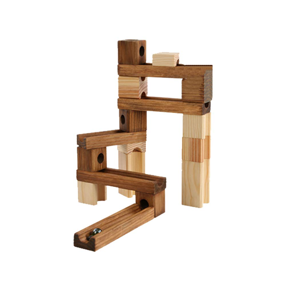 LIUFS-TOY Wooden Pipe Marbles Building Blocks Track to Large to Fight Ball Combination Early Education Toys (Size : S-45 Wood)