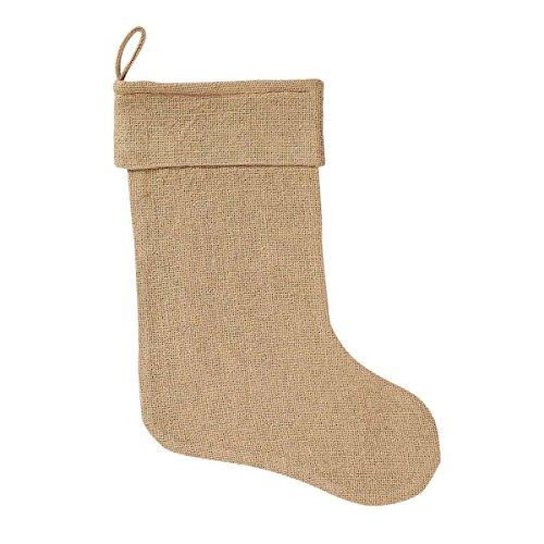 VHC Brands Christmas Holiday Decor - Burlap Natural Tan Stocking, 11