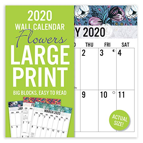 """Avalon 2020 Large Print Wall Calendar, Easy to Read, Floral Design, 12"""" x 12"""""""