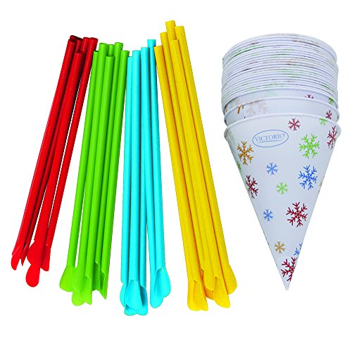 Time for Treats Snow Cone Cups and Spoon Straws 25-Pack by VICTORIO VKP1125 (Sno Cone Accessories)