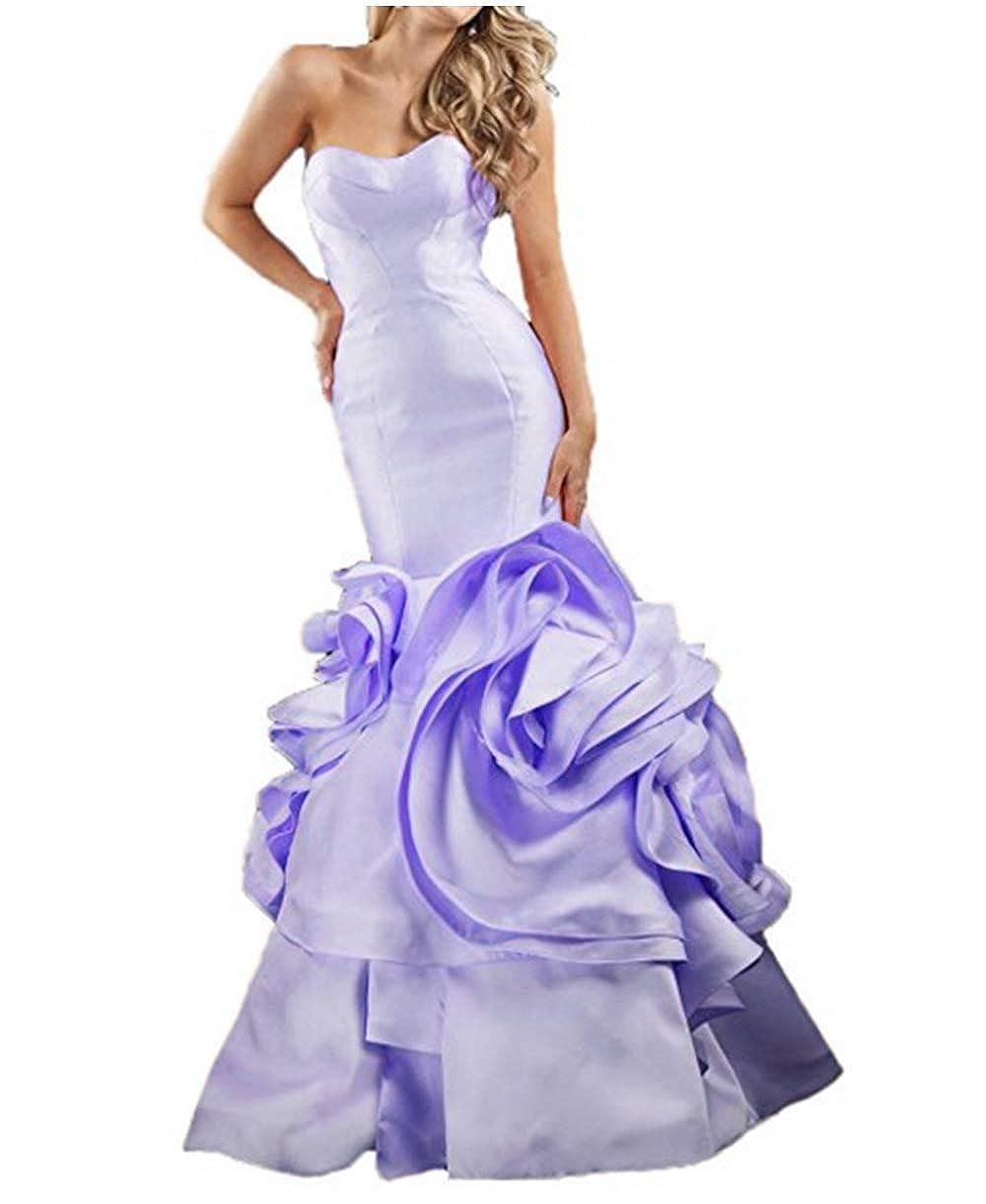 purplec FWVR Women's Sweetheart Ruffles Mermaid Formal Long Evening Prom Dresses