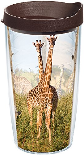 (Tervis 1170061 Giraffes Insulated Tumbler with Wrap and Brown Lid, 16oz, Clear)