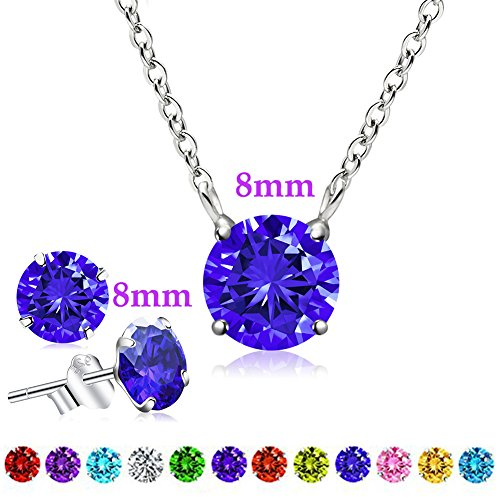 September Birthstone Pendant Necklace, Swarovski Element AAA Cubic Zirconia Sterling Silver Necklace for Women Girls (Sapphire) (September Pendant Birthstone)