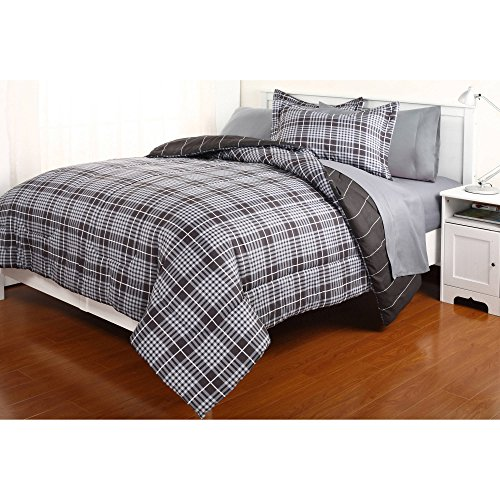 Boy Gray Black Plaid Stripe Dorm College Twin Xl Comforter Set (5pc Bed in a Bag)