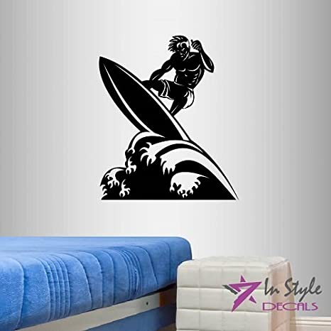 Wall Vinyl Decal Home Decor Art Sticker Silhouette Surfing