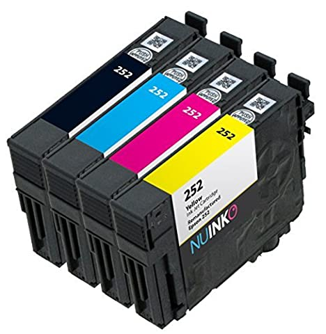 NUINKO 4 Pack Remanufactured Epson 252 Ink Cartridge for Epson WorkForce WF-3640 WF-3620 WF-7620 Printers (1 Black 1 Cyan 1 Magenta 1 (Printer Cartridges Wf 3640)