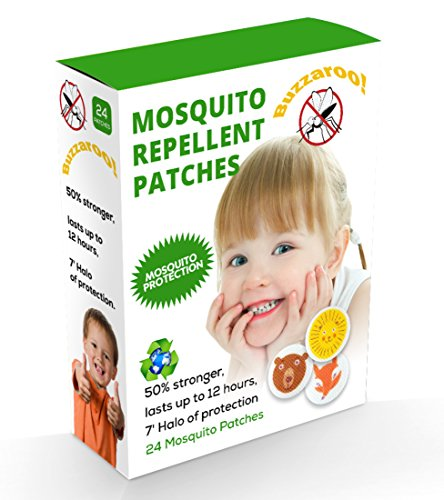 Heavy Duty Mosquito Patches: Up to 24 Hours Lasting Buzz-OFF! Mosquito Repellent Patches, Pack of 24, Natural Eco-friendly Mosquito and Insect Repellent Citronella Patches, Kid-safe, Deet Free
