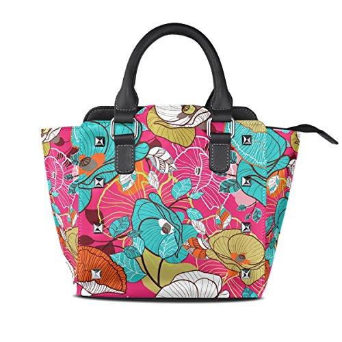 COOSUN Mujeres coloridas cuero Bolsa de hombro floral textura PU asa superior del totalizador del bolso del bolso de Crossbody Medio Multicolor