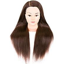 weddingwish Ms hair Medium-length Training Doll Head Cosmetology Head with Free Table Clamp (Heat Resistant Fiber Borwnness Colors) B …