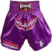 Embroidery Fight MMA Shorts Kick Boxing Brief Muay Thai Trunks Purple, XXL