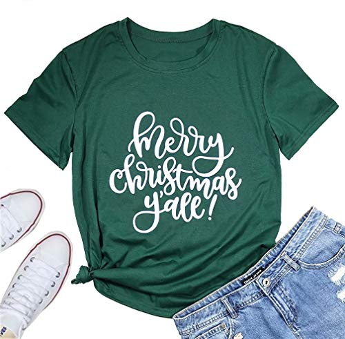 Merry Christmas Y'all Shorts Sleeve Merry Christmas Tee T Shirts for Women Letter Print Christmas Graphic Tee Shirts Tops Green