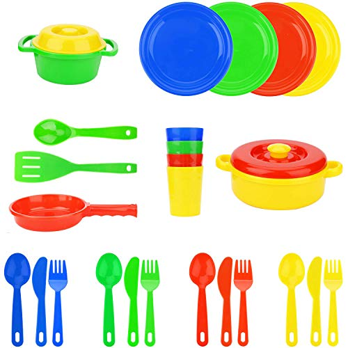 (Flormoon Play Dishes Toys - 25pcs Pretend Play Cooking Toys Set - Safe, Eco-Friendly, Realistic - Kids Serving Dishes Tableware Dishes Playset - Kitchen Toys Set for Kids Boys Girl 3+)