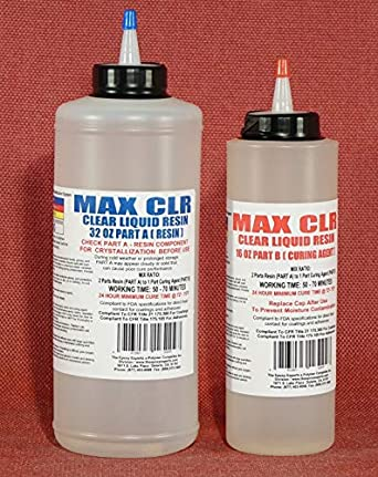 MAX CLEAR GRADE Epoxy Resin System - 48oz  Kit - Food Safe, FDA Compliant  Coating, Crystal Clear, Stain Resistant, Countertop and Tabletop Coatings,