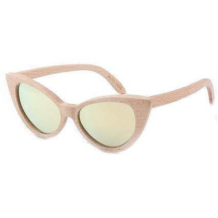 Gafas sol polarizadas de Madera del Ojo de Gato, protección UV de la Lente Coloreada