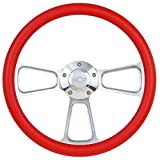 Red Steering Wheel 14 Inch Aluminum with Chevy Installation Adapter and Horn