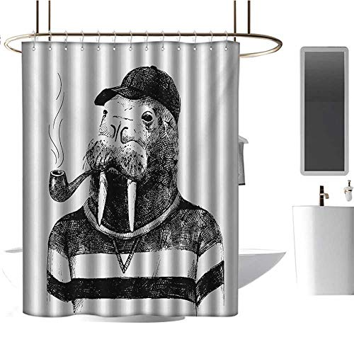 TimBeve Home Decor Shower Curtain by Indie,Hand Drawn Dressed Up Walrus Animal Long Teeth Smoking Pipe Antromorphic Sketch Art,Black White,Metal Rust Proof Grommets Bathroom Decoration 70