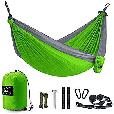 Camping Hammock, LAX Portable Double Durable Hammock for Backpacking, Travel, Hiking, Beach, Yard, Multi-Functional Lightweight Nylon Parachute Hammocks with Heavy Duty Straps (Purple/Blue)
