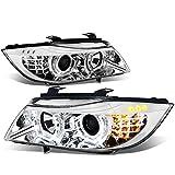 bmw 328i headlight switch - BMW E90 3-Series Pair of 3D Halo Projector Amber LED Corner Headlights (Chrome Housing)
