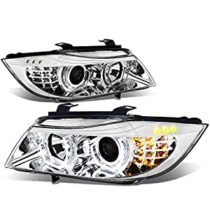 BMW E90 3-Series Pair of 3D Halo Projector Amber LED Corner Headlights (Chrome Housing)