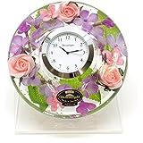 ドリームクロック フローララ 置き時計 おしゃれ 置時計 花時計 ドリームライト キャンドルホルダー ガラス