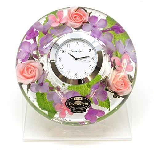 ドリームクロック フローララ 置き時計 おしゃれ 置時計 花時計 ドリームライト キャンドルホルダー ガラス B07DLQ1Q8N