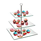 TJB 3 Tier Serving Tray Platters, Appetizer or Dessert Cupcakes And Cake Stand - Centerpiece For Weddings, Tea Party, Holiday Dinners, or Birthday Parties (Square 3 Tier)