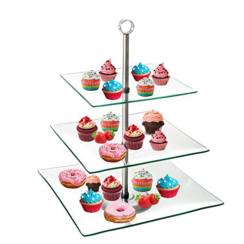 TJB 3 Tier Serving Tray Platters, Appetizer or Dessert Cupcakes And Cake Stand - Centerpiece For Weddings, Tea Party, Holiday Dinners, or Birthday Parties (Square 3 Tier) (Glass Tray Platter)