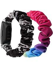 (2-pack) Chofit riem, compatibel met Fitbit Inspire 2/Inspire HR/Inspire bandjes, vervangende scrunchies armband, chiffon, satijnen polsband, voor dames, Inspire 2 fitness-tracker
