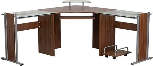 Flash Furniture Teakwood Laminate Corner Desk
