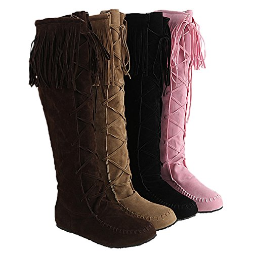 flat Ladies tassel winter length boots faux suede Pink Nonbrand shoes knee aqBwdPS