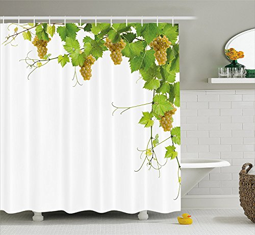 [Grapes Home Decor Shower Curtain Collage of Vine Leaves on Bunch Farming Natural Rural Food Berry Image Fabric Bathroom Decor Set with Hooks Green] (Grape Vine Halloween Costume)