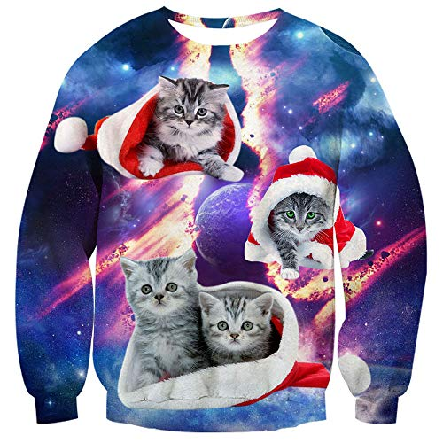 TUONROAD 3D Animal Printed Cute Ugliest Christmas Sweatshirt Red White Santa Claus'cap with Cute Cats Crazy Moon Planet Universe Galaxy Orange Light Santa Holiday Sweater for Unisex Adult Mens Womens (Christmas Ugliest Jumpers)
