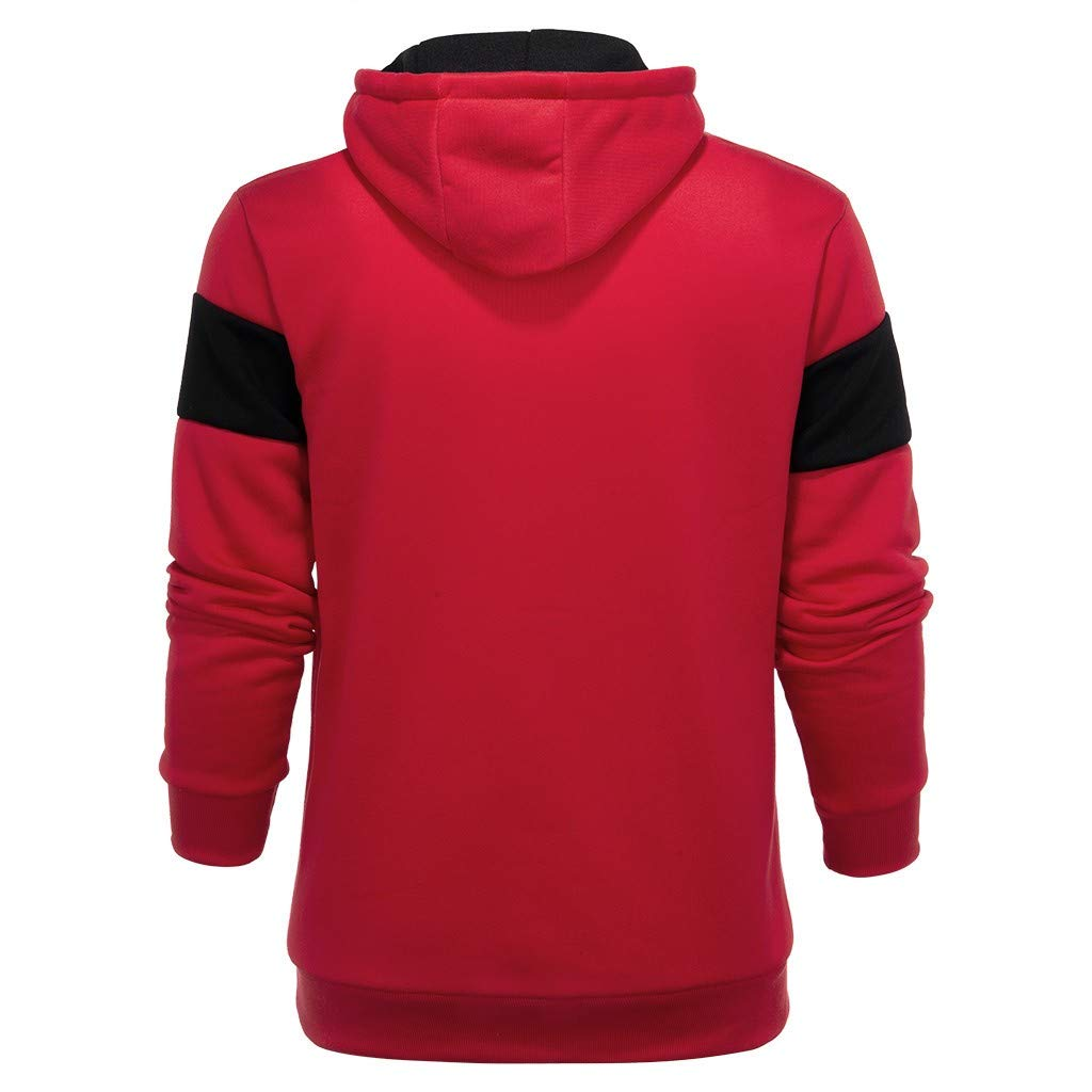 Hmlai Clearance Men Fashion Casual Patchwork Slim Fit Hip Hop Outwear Pullover Hoodies Sweatshirts with Kanga Pocket