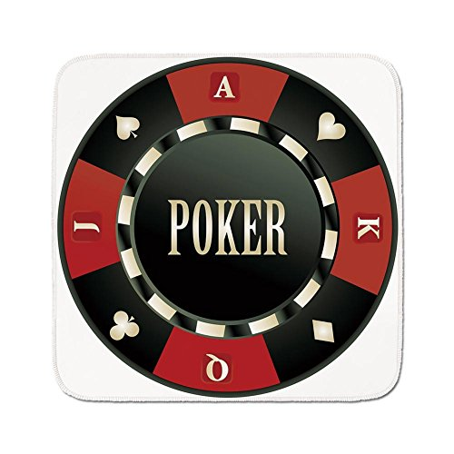 Cozy Seat Protector Pads Cushion Area Rug,Poker Tournament,Casino Chip with Poker Word in Center Rich Icon Card Suits Decorative,Army Green Vermilion White,Easy to Use on Any Surface